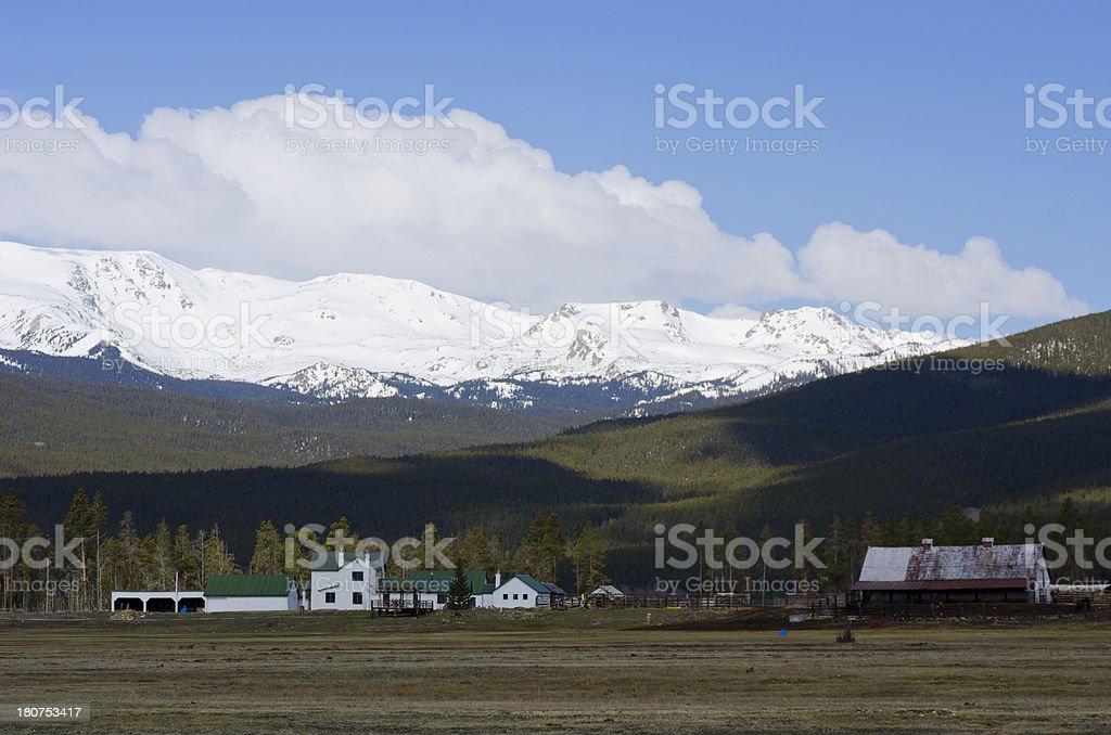 Farm and Mount Massive stock photo