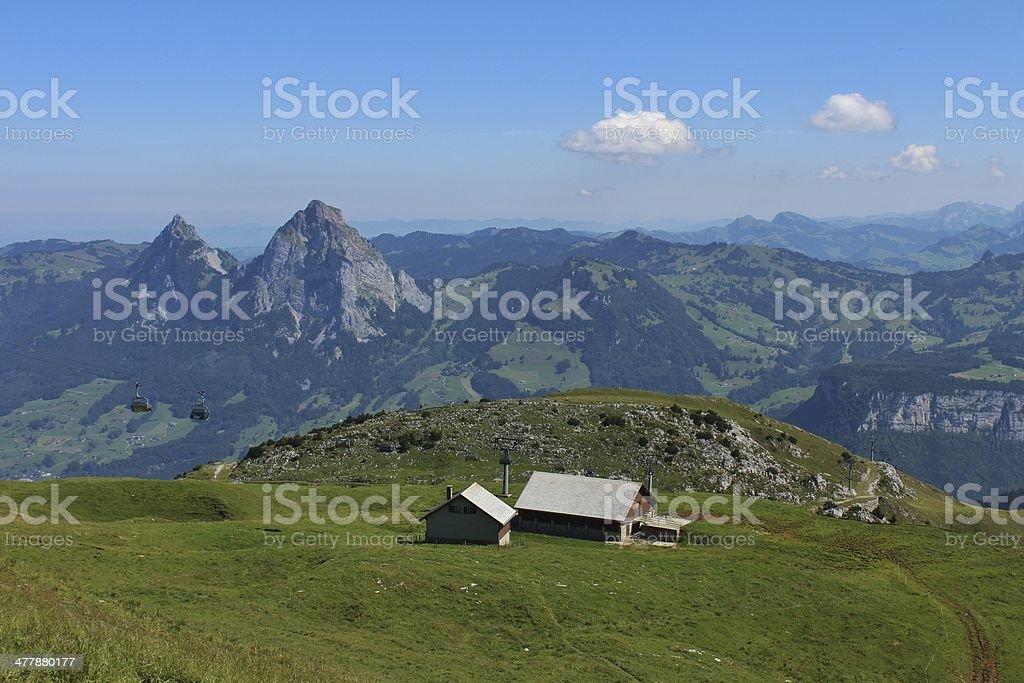 Farm and Mythen stock photo