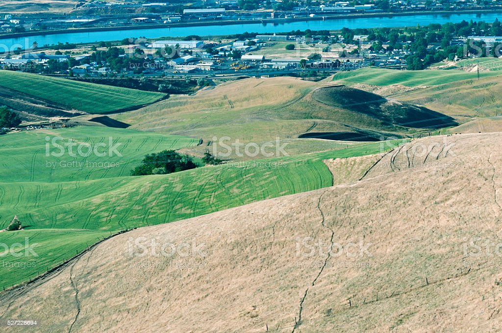 Farm and ranch land in hills above Lewiston ID stock photo