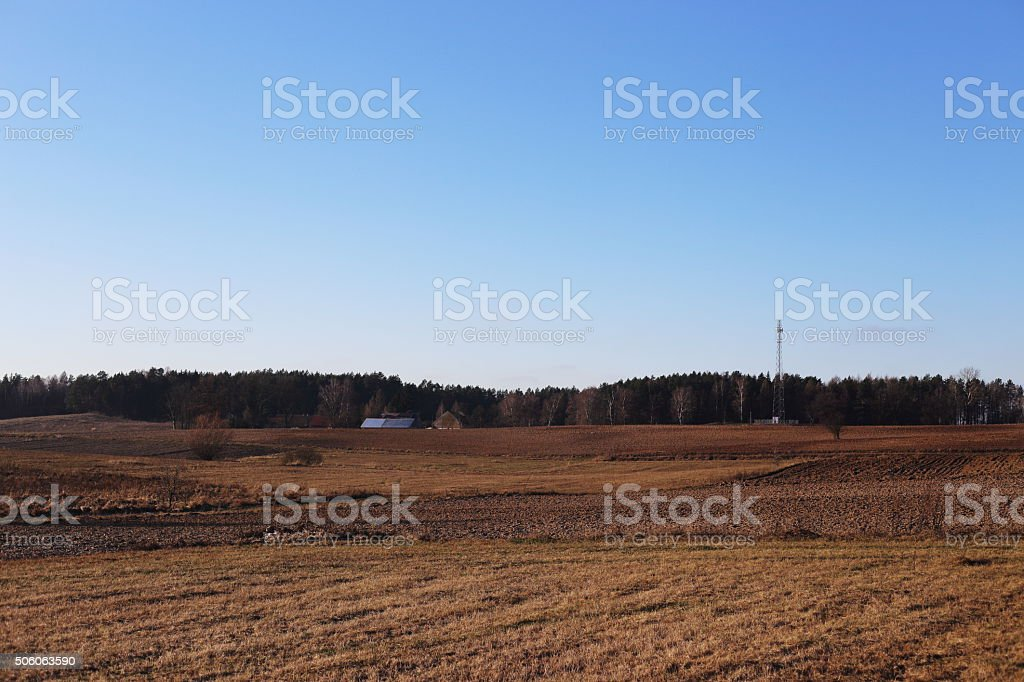 farm and tower of communication royalty-free stock photo
