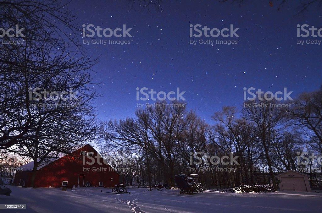 Farm at night royalty-free stock photo