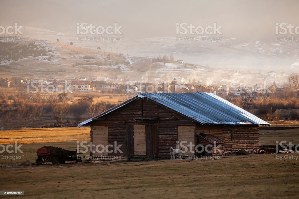 farm barn willage stock photo