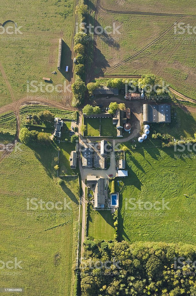 Farm barns fields aerial view royalty-free stock photo