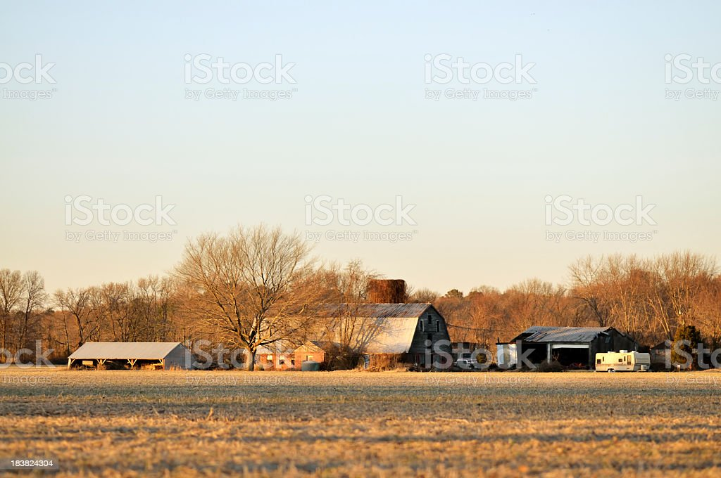 Farm Building In December Afternoon Light royalty-free stock photo