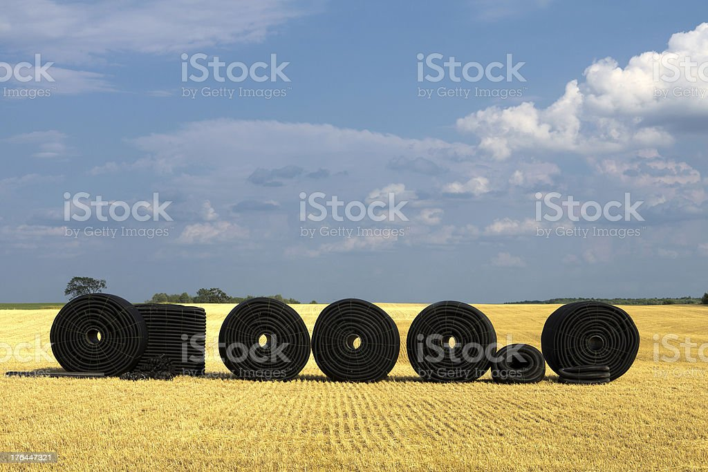 Farm Drainage Tile in Field stock photo