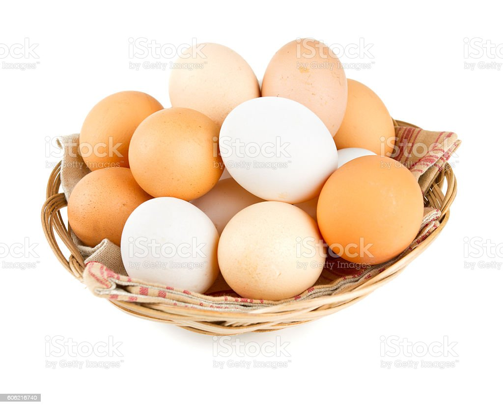 farm eggs in a basket stock photo