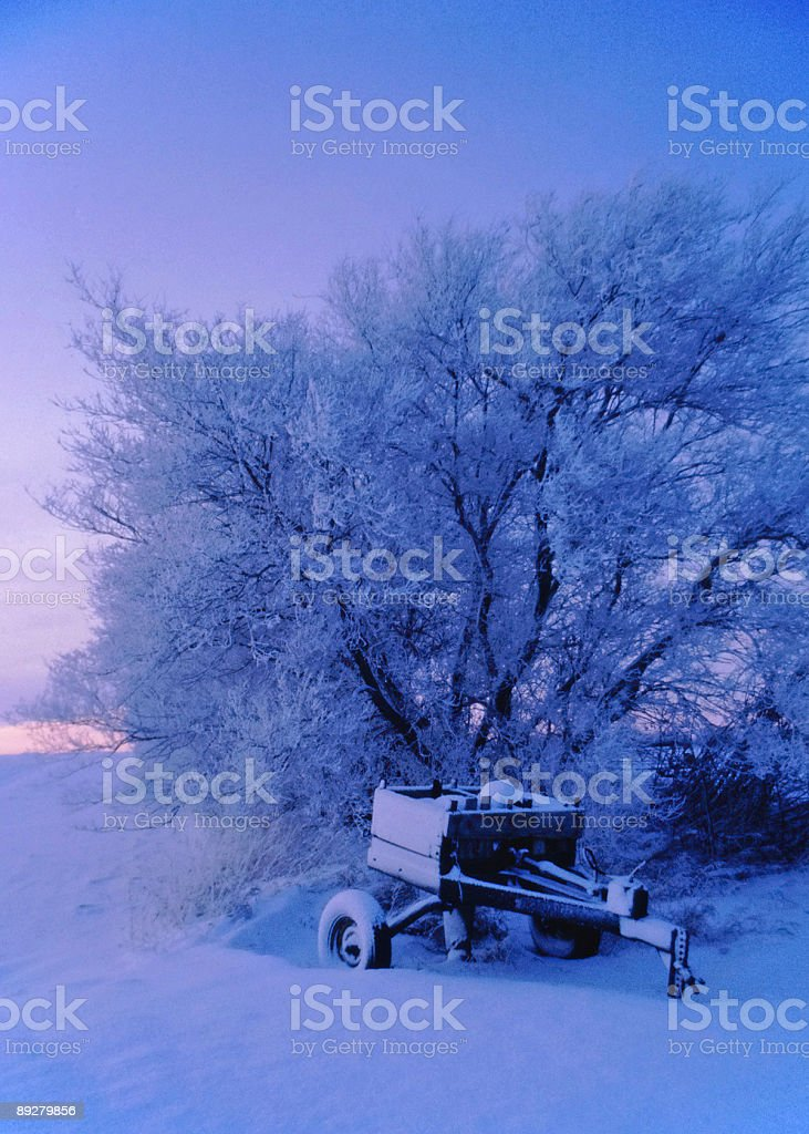 Farm Equipment in Winter royalty-free stock photo
