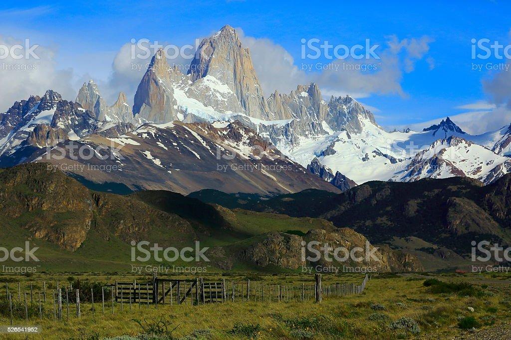 Farm estepes near Chalten, Fitzroy, Patagonia Argentina, Los Glaciares stock photo