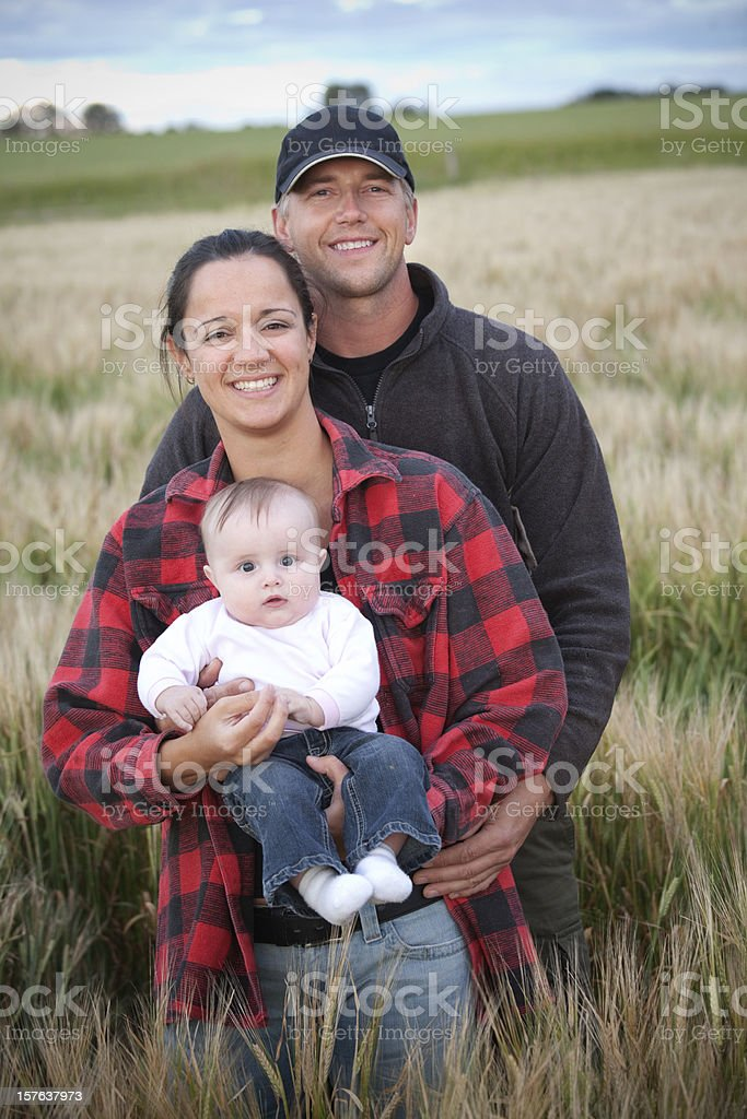 Farm Family In Field stock photo