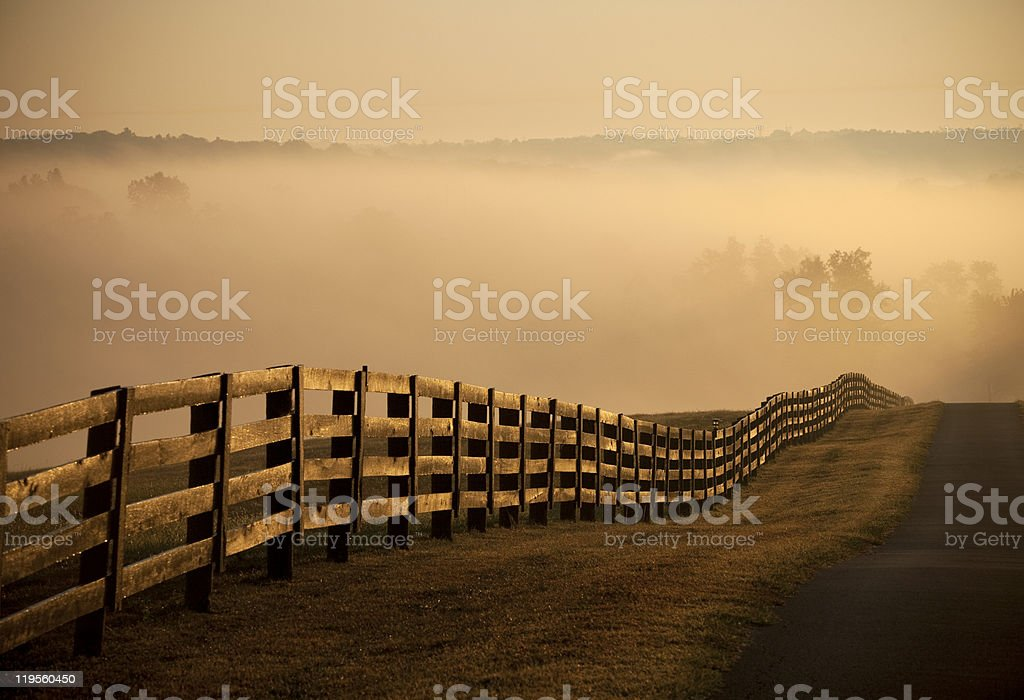Farm Fence and road at sunrise with fog stock photo