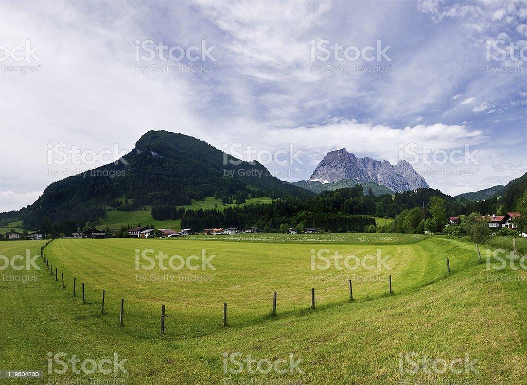 Farm field in Tirol stock photo