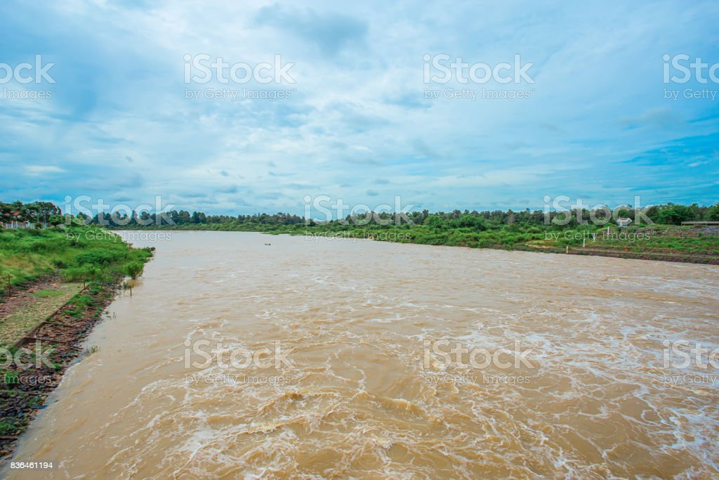 Farm, Flood, Water, Waterfall, Thailand stock photo