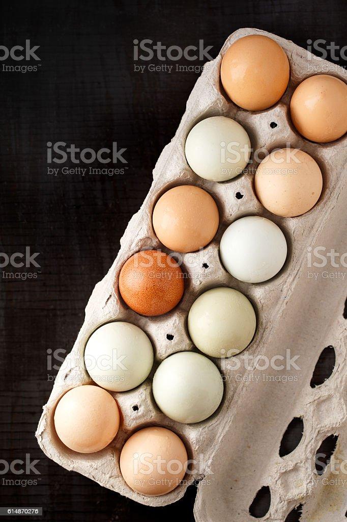 Farm Fresh Organic Eggs stock photo