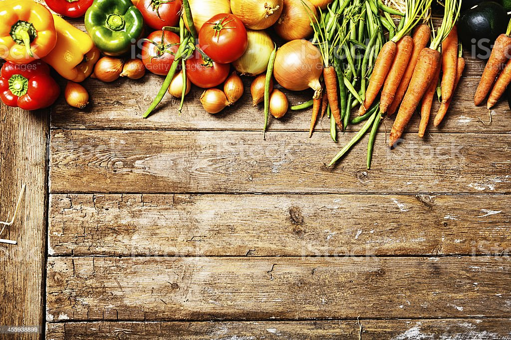 Farm fresh vegetables in wooden box stock photo