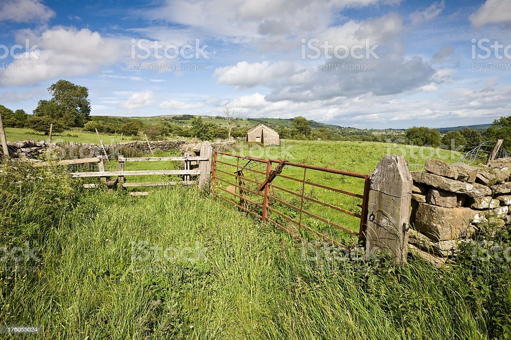 Farm Gate and Barn in the Yorkshire Dales stock photo