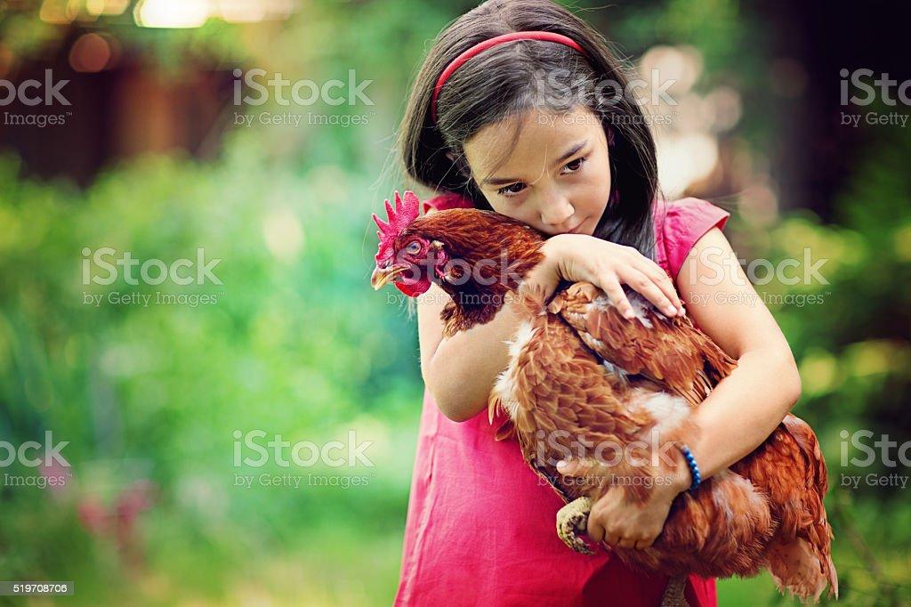Farm girl stock photo