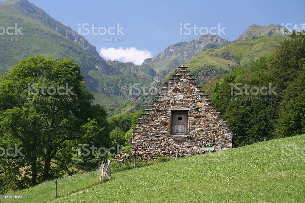 farm house in pyrennes stock photo