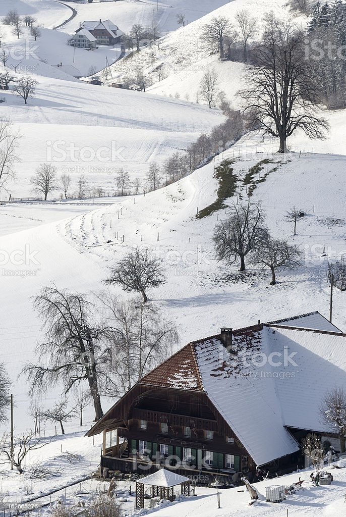 Farm House in Winter royalty-free stock photo