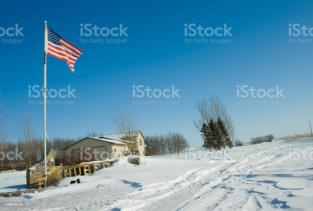 Farm House With Snow royalty-free stock photo