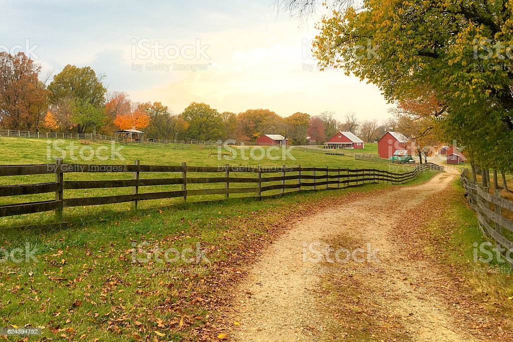 Farm in Autumn stock photo