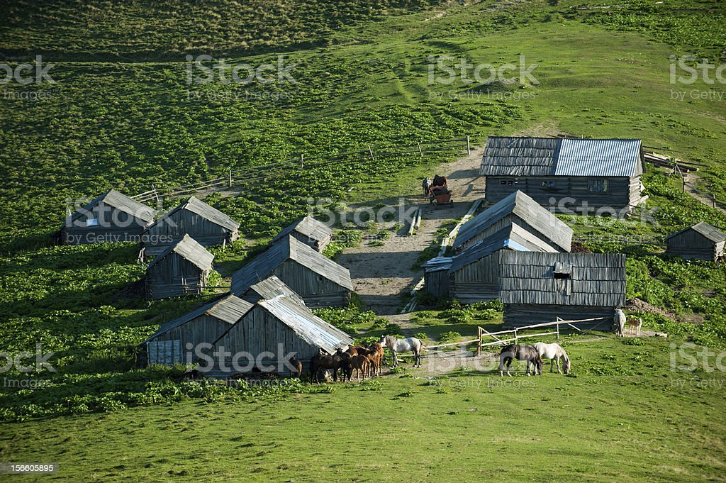 farm in the mountains royalty-free stock photo
