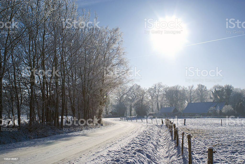 Farm in the snow. stock photo