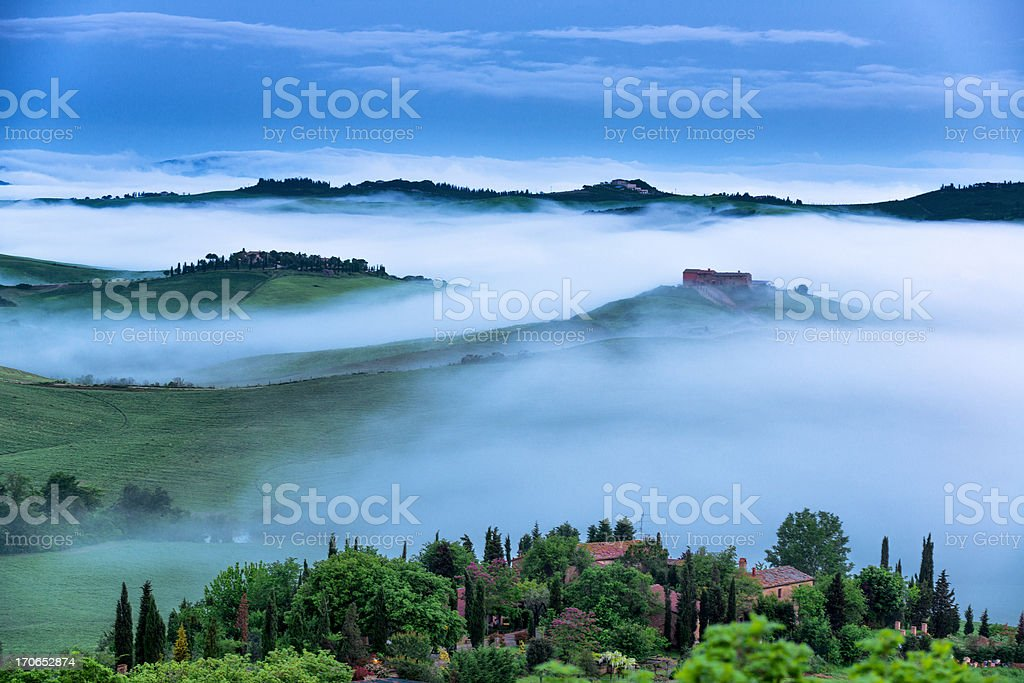 Farm in Tuscany at dawn royalty-free stock photo