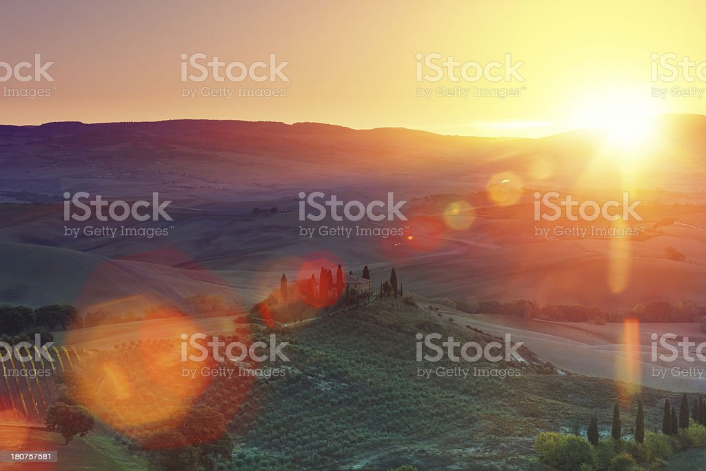 Farm in Tuscany stock photo