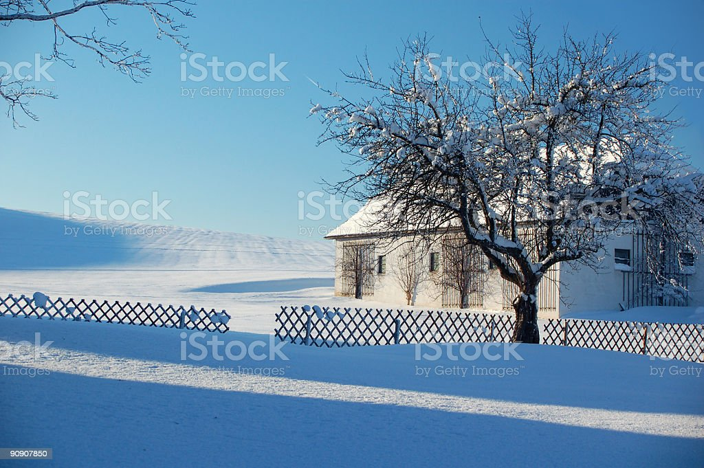 Farm in Winter Landscape royalty-free stock photo