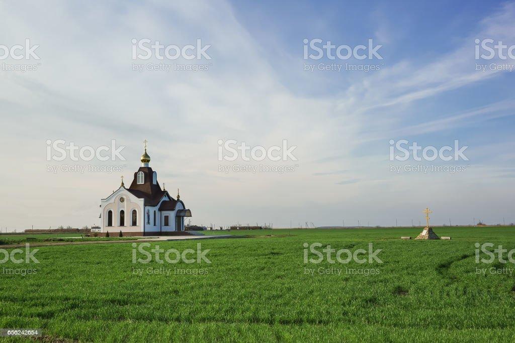 Farm Kuban, Slavic area, Krasnodar territory, Russia - the new St. Nicholas Church stock photo