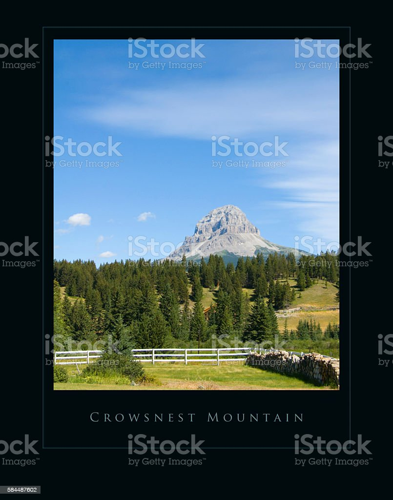 Farm land and Crowsnest mountain - summer- poster effect stock photo