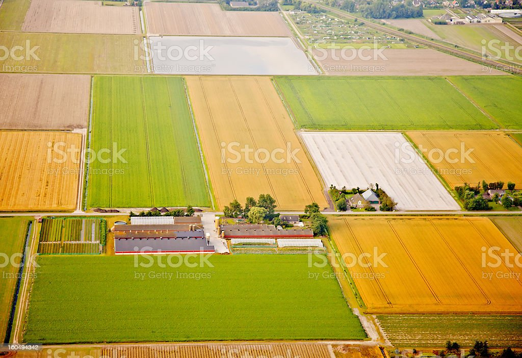 Farm landscape from above, The Netherlands royalty-free stock photo