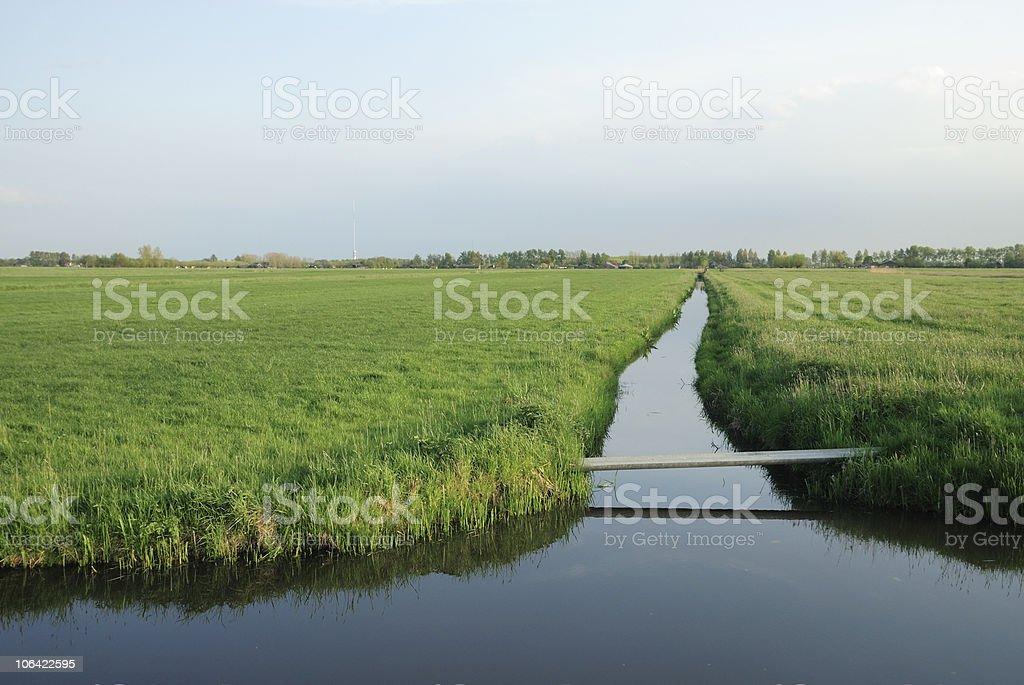 Farm landscape in the Netherlands with ditch royalty-free stock photo