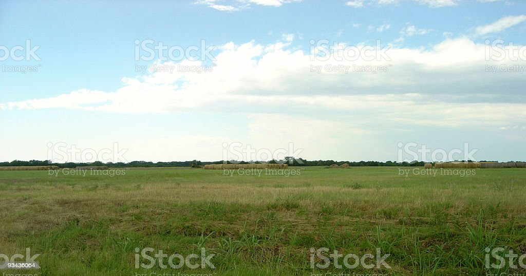 Farm Landscape with hay bales royalty-free stock photo