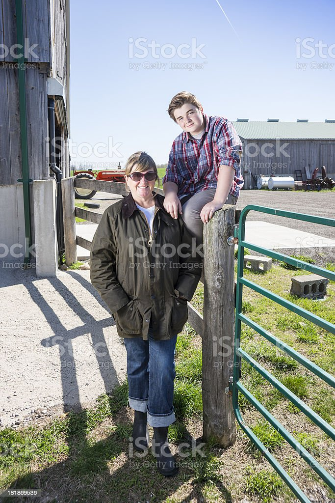 Farm mother and son royalty-free stock photo