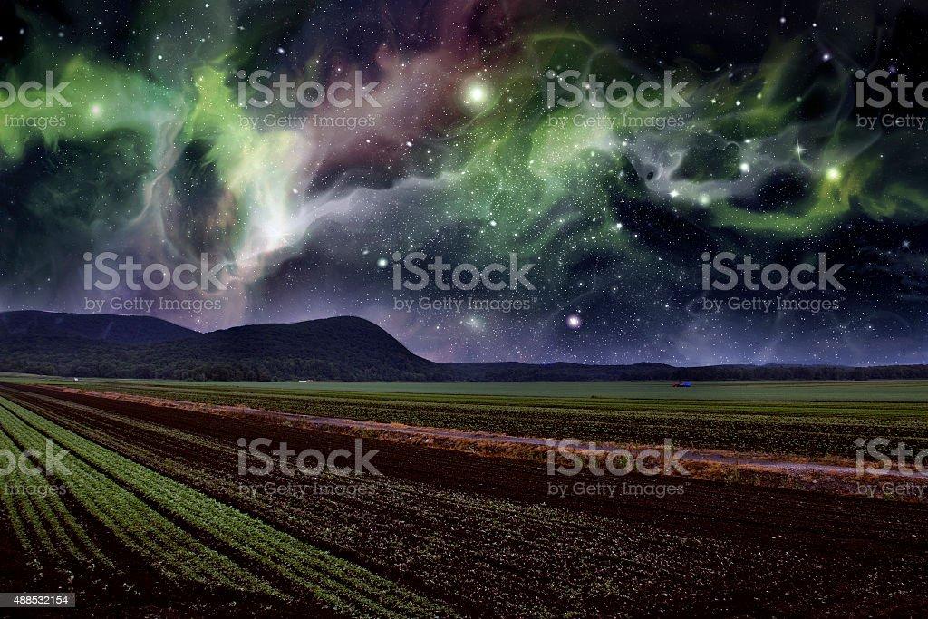 Farm Night Starscape stock photo