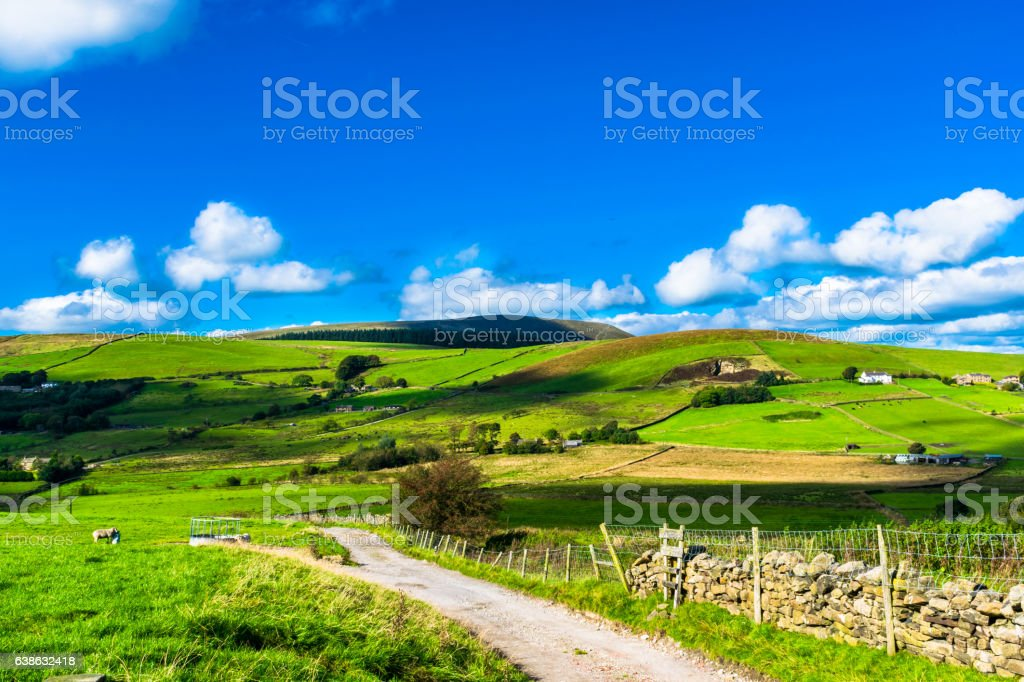 Farm On English Countryside stock photo