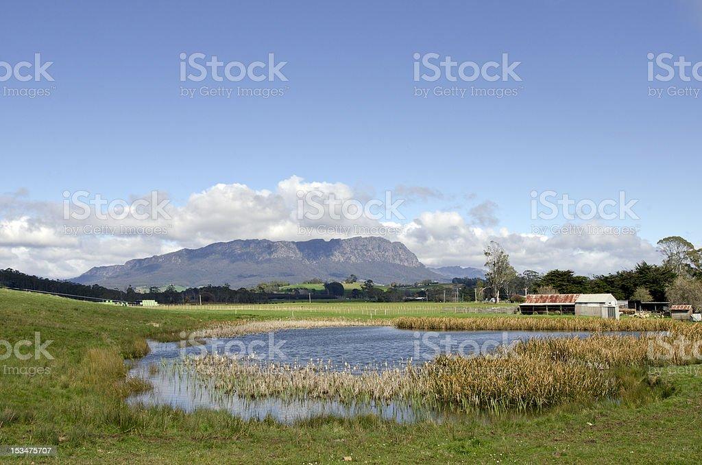 Farm pond near Mt Roland at Sheffield in Tasmania stock photo
