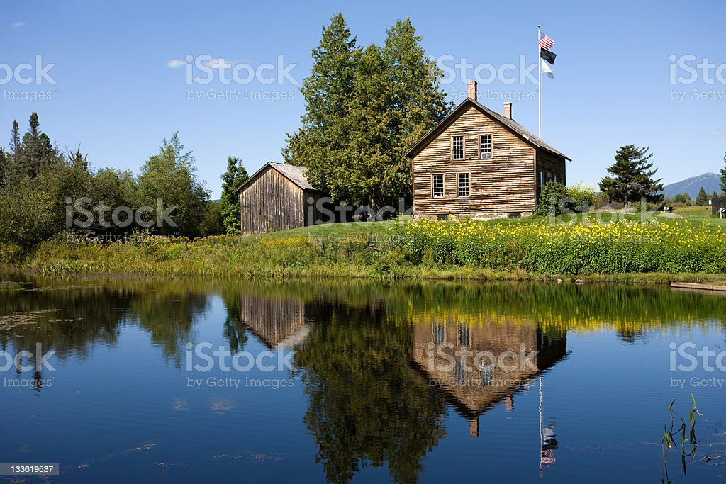 Farm reflection stock photo