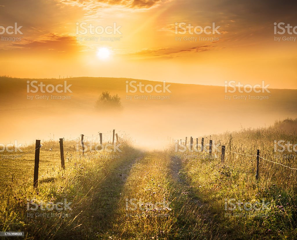 Farm Road heading into the Foggy Valley HDR Sunset Landscape royalty-free stock photo