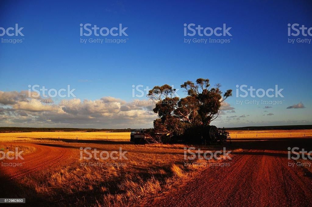 Farm roads and fields on Kangaroo Island, Australia stock photo