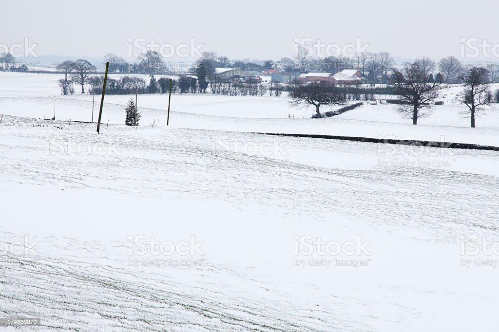 Farm under snow stock photo