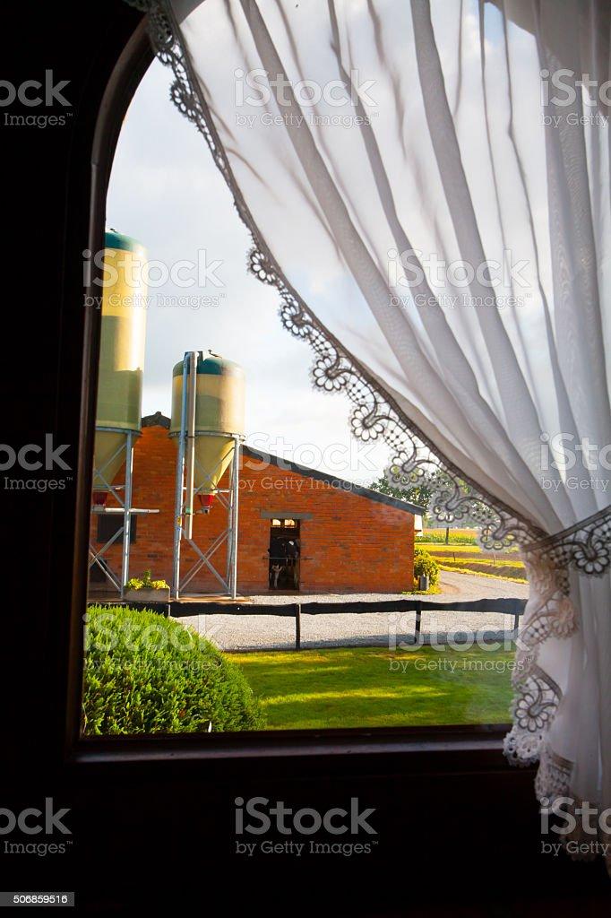 Farm window stock photo