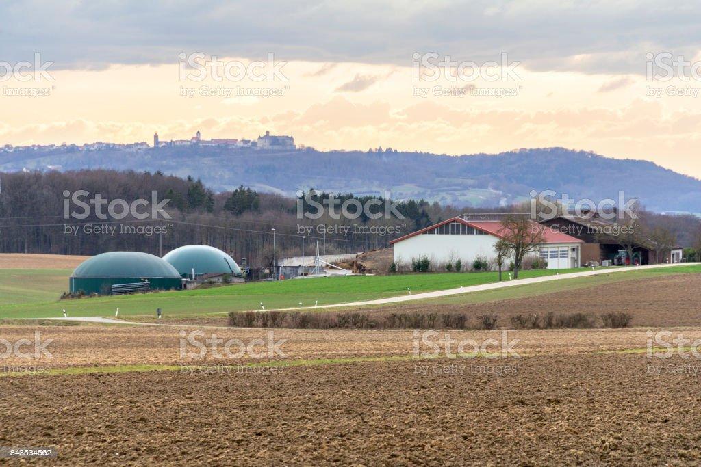 farm with biogas plant stock photo