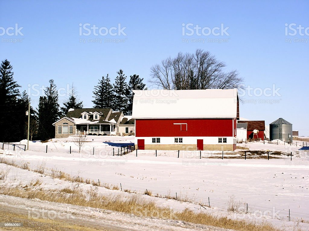 Farm with nice modern house and red barn royalty-free stock photo