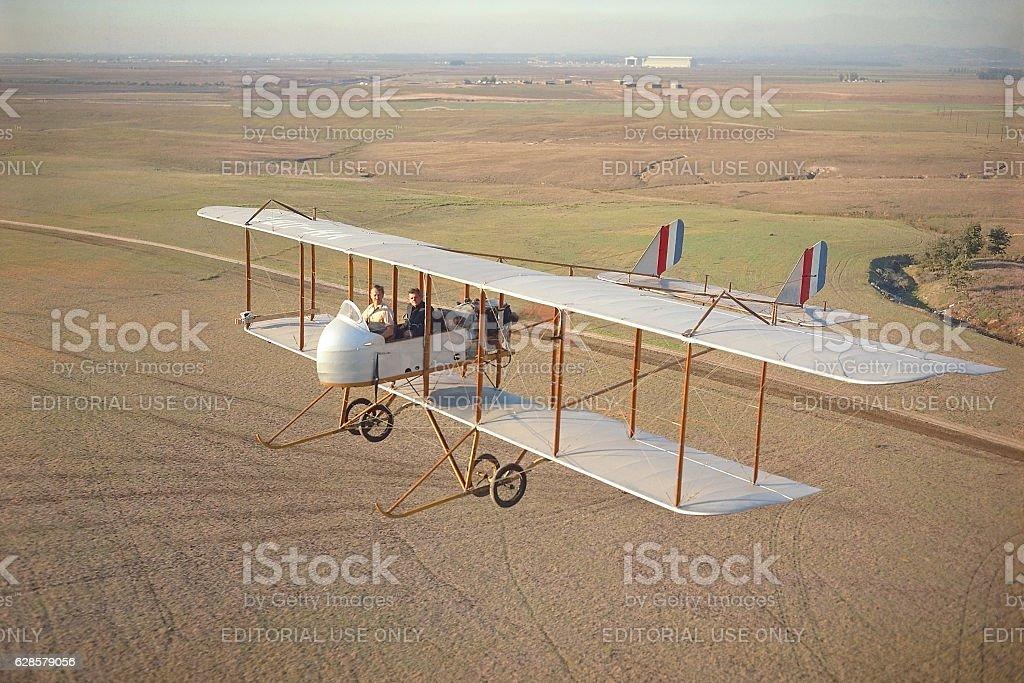 Farman MF.11 1914 biplane in flight stock photo