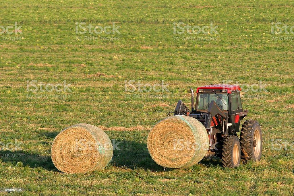 farmer and hay bales royalty-free stock photo