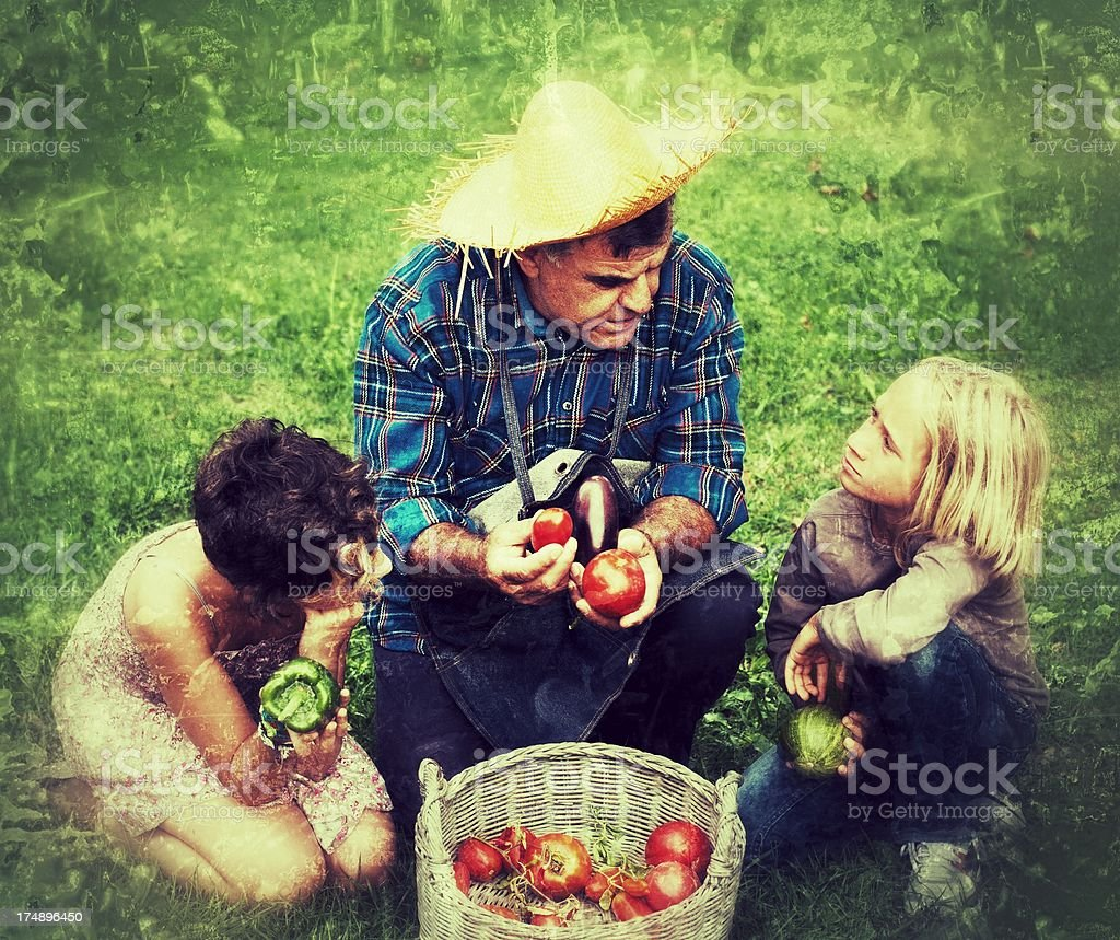 Farmer and his Grandchildren with Fresh Vegetables royalty-free stock photo