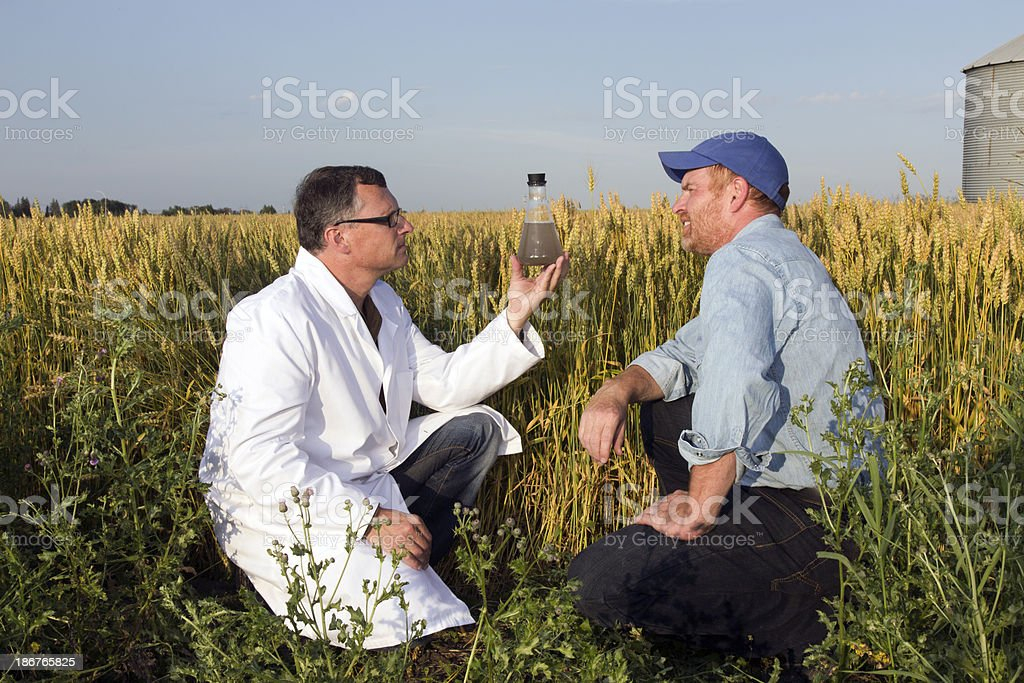 Farmer and Scientist royalty-free stock photo