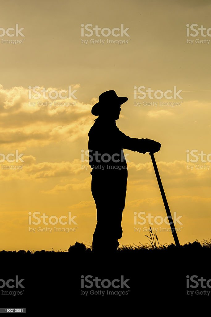 Farmer and sunset stock photo